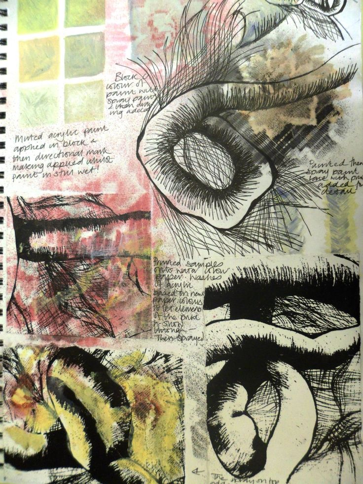 Sketchbook page showing primary research and close up studies of knitting and yarn
