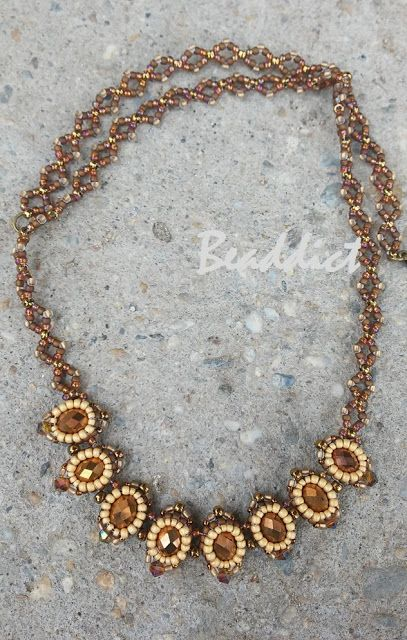 """""""Rococo"""" necklace. Designed and beaded by Beaddict. Donut, seed beads, bicones."""