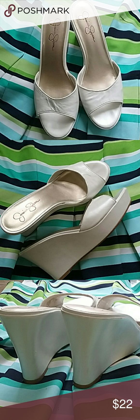 JESSICA SIMPSON WHITE WEDGE GENTLY USED WHITE JESSICA SIMPSON WEDGE SHOES. IN GOOD CONDITION!  With Box Jessica Simpson Shoes Wedges