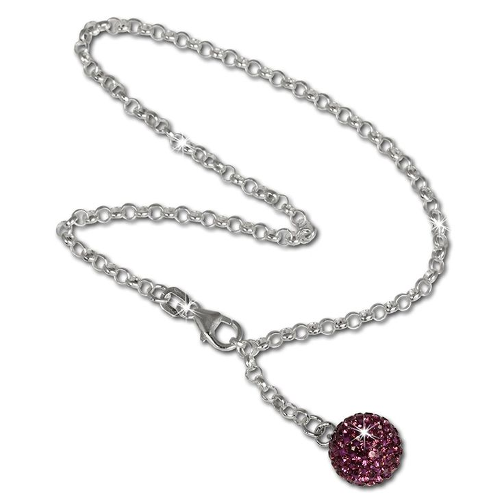 SilberDream anklet glitter ball with purple Zirconia, 925 Sterling Silver 9.8 inch SDF010V -- Find out more about the great product at the image link. (This is an Amazon Affiliate link and I receive a commission for the sales)