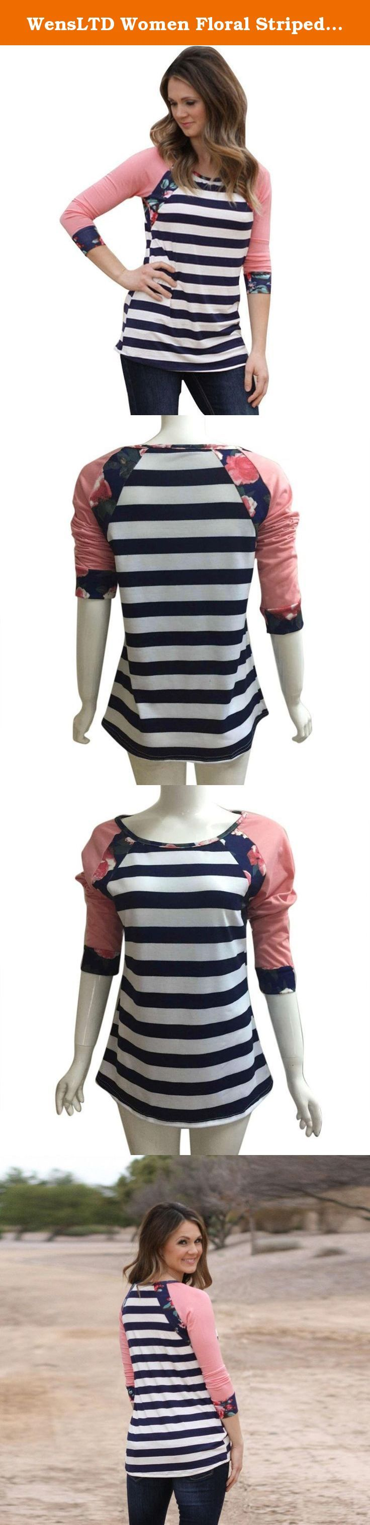 WensLTD Women Floral Striped Printed Casual Blouse Shirt Tops Fashion T-shirt (L, Pink). NOTE: Please compare the detail sizes with yours before you buy!!! Use similar clothing to compare with the size. Specifications: Material:Blending Clothing Length:Normal Collar:O-neck Sleeve Length:Three Quarters Sleeve Decoration:None Pattern Type:Striped Sleeve Style:Normal Style:Fashion Package include:1PC T-Shirt.