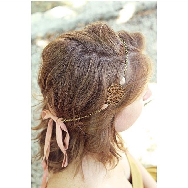 "Headband Siena en pierre de lune ""nude"" & rubans roses -Collection Pemberley bijoux"