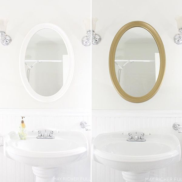 Brass Matte Metallic Paint updates a plain Mirror Frame for a Bath Makeover  by May Richer Fuller Be. 108 best Residential   Modern Masters images on Pinterest   Modern
