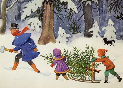 Christmas Card by Elsa Beskow
