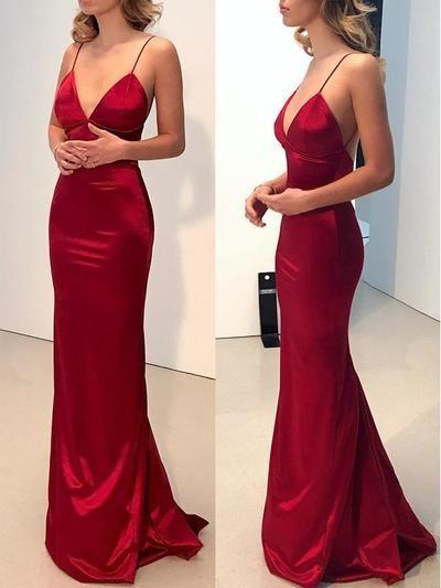 Simple Backless Dark Red Mermaid Long Evening Prom Dresses G264