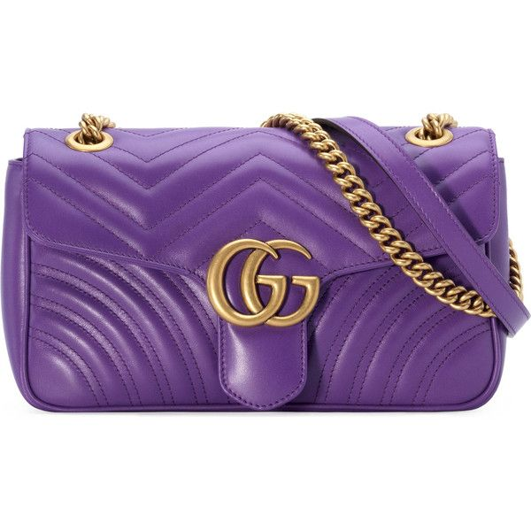 Gucci Gg Marmont Small Shoulder Bag ($1,980) ❤ liked on Polyvore featuring bags, handbags, shoulder bags, purple, leather hand bags, man bag, leather purse, hand bags and gucci shoulder bag