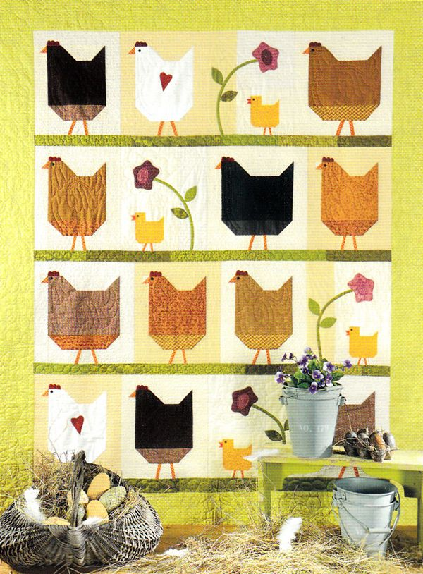 """Hen Party"" Kit - ""The Quilted Crow Quilt Shop, folk art quilt fabric, quilt patterns, quilt kits, quilt blocks"