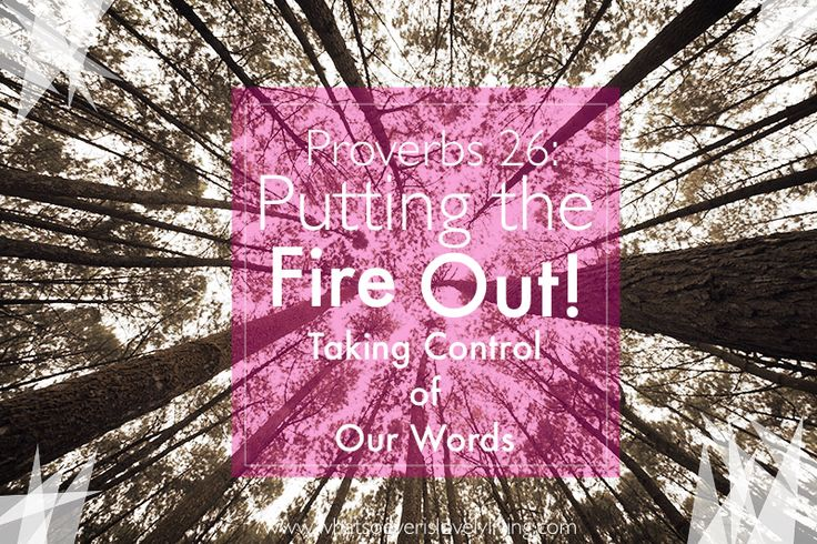 Proverbs 26: Putting the Fire Out! Taking Control Of Our Words | Whatsoever is Lovely Living