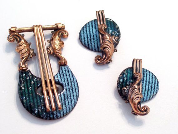Vintage MATISSE Enamel Copper Set Matisse LYRE Pin by TheCopperCat ...