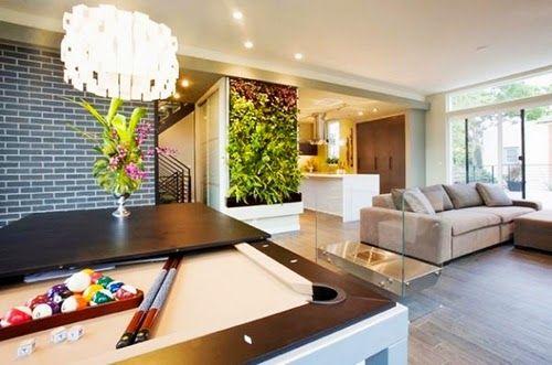 Modern Living Room with Billiard Table Wall Panel Bricks Chandelier Lighting and Sofa Set Furniture