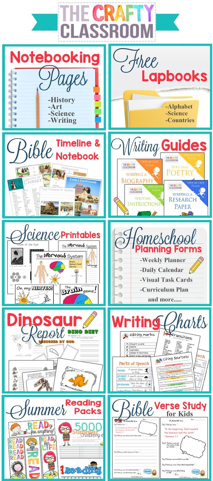 Free Homeschool Printables and Teaching Resources. There is so much here on this website!! Bible Timeline, Writing Guides for Kids, Homeschool Planning Forms, Free Notebooking Pages, Free Lapbooks, Writing Charts....Huge Resource!! http://www.TheCraftyClassroom.com
