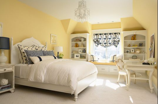 Benjamin Moore lemon sorbet ..... looks great with white and navy ...Google Image Result for http://colorchats.benjaminmoore.com/wp-content/uploads/2012/09/lemon_bedroom.png