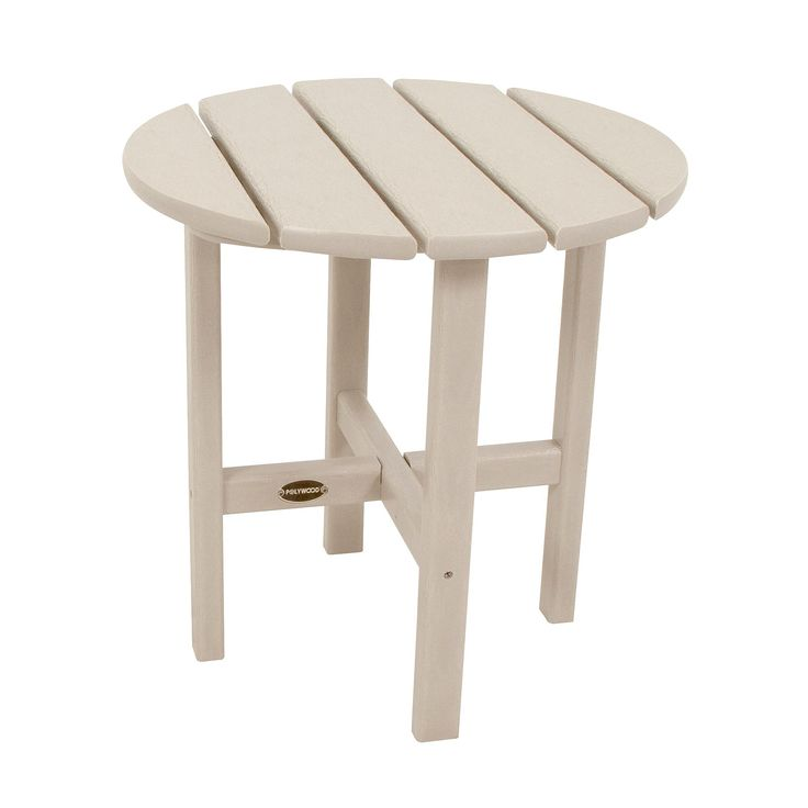 Polywood Round Patio Side Table - Beige