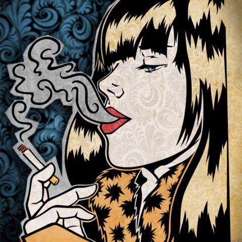 Smoke girl. Realización en base a dibujo entintado, Illustrator y Photoshop.