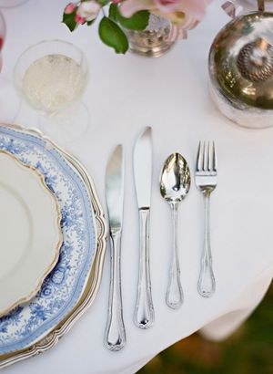 pretty place setting...love the blue and white china