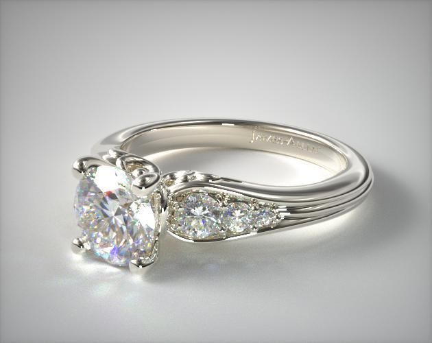 14k White Gold Graduated Pave Swirl Engagement Ring   17871W14 - Mobile