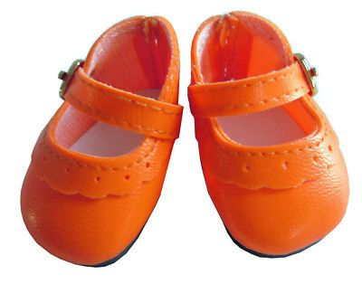 Orange Mary Jane Shoes for American Girl Wellie Wishers Wisher Doll Halloween