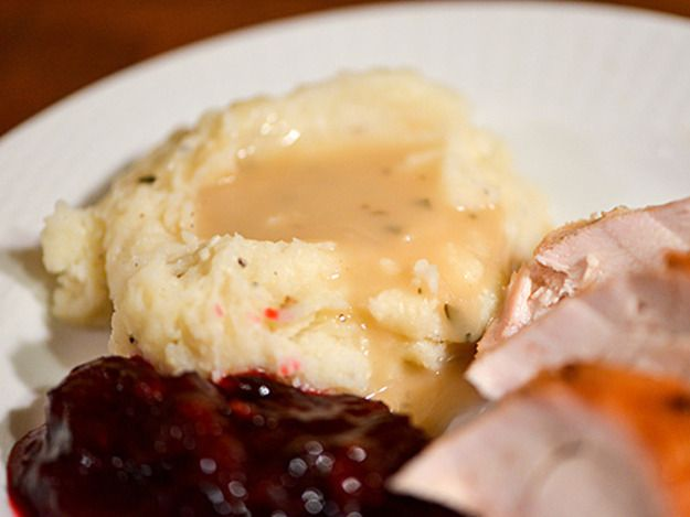 The simple addition addition of apple cider gives this gravy a slight tartness and light fruity flavor.