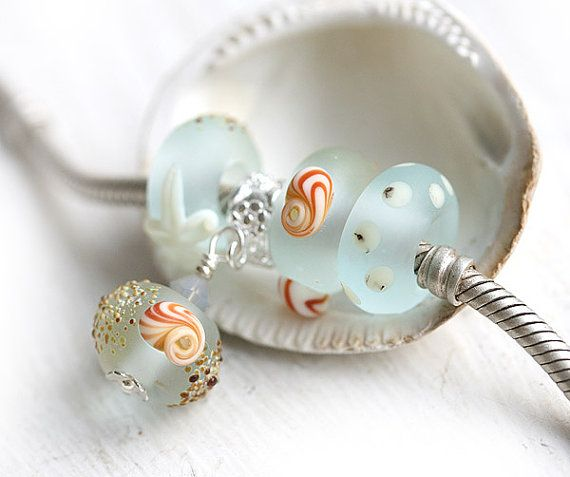 Large hole beads SET with charm dangle bead  Beach by MayaHoney, $29.50