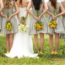 bridesmaids: Wedding Parties, Pictures Ideas, Bridesmaid Pics, Photo Ideas, Bridesmaid Dresses, Yellow Shoes, Colors Schemes, Bridesmaid Shoes, Bridesmaid Bouquets