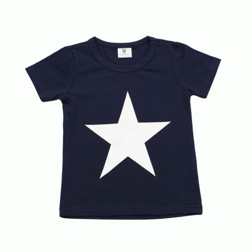 what a star!this classic navy tee with large white star is extremely soft and comfortablemade from 100% cotton by hootkid, it will go with almost anything and can be worn by boys or girls $28.95