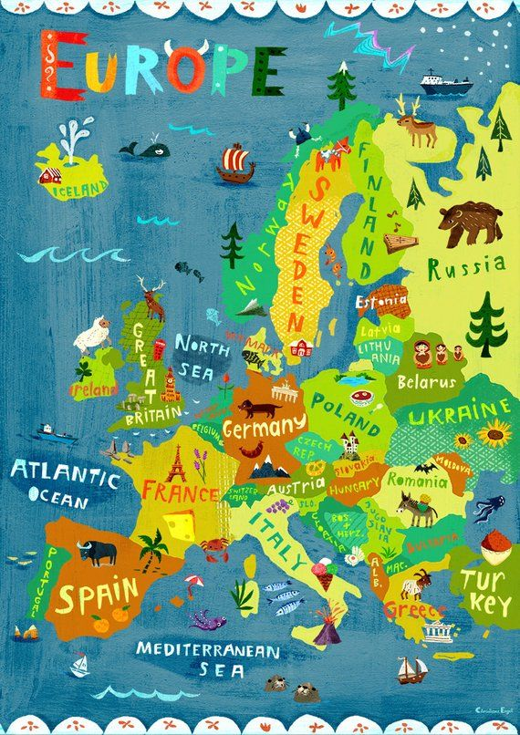 Map Of Europe For Kids Digital print/poster Map Illustration of Europe, for Kids Rooms