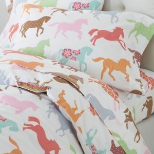 Coloured Ponies Percale Bedding