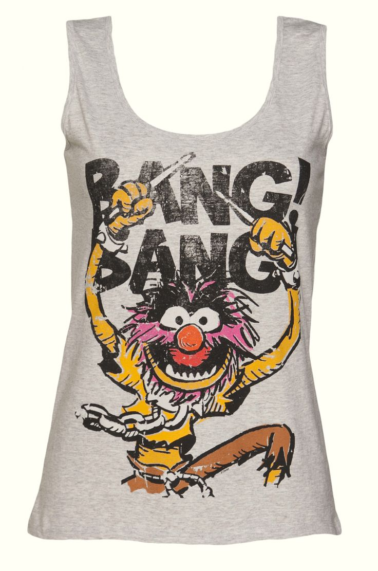 Ladies Grey Marl Animal Bang Bang Muppets Vest