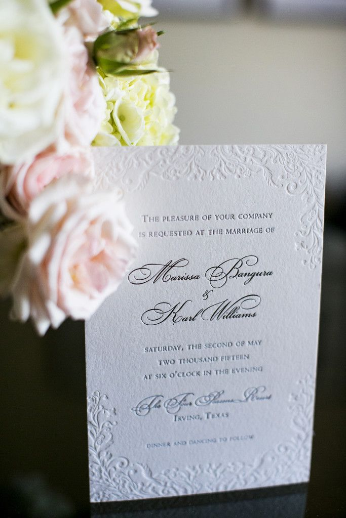 elegant wedding invites coupon codes%0A Letterpress Invitations by Cotton Paperie Dallas  Four Seasons Dallas Las  Colinas Wedding  Planned by