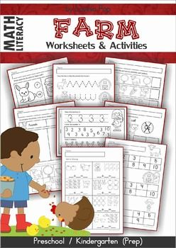 """Farm Math & Literacy Worksheets & Activities This book contains a collection of games and activities intended for use in centers and small groups with children in Preschool and Kindergarten (Prep). Contents: Uppercase to lowercase match (6 pages) Pictures that begin with...B, C, D, F, M, W (6 pages) Beginning Sound Dot It! (4 pages) Cut and paste missing letters - uppercase Cut and paste missing letters - lowercase Pre-writing practice page Alphabet booklet - """"ABCs on the..."""