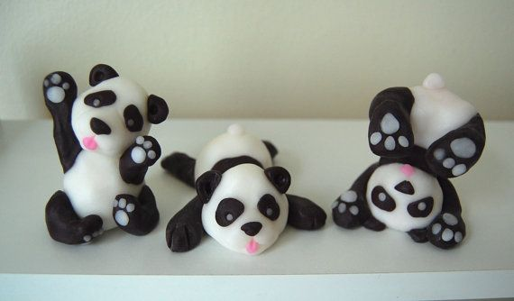 Silly Fondant Panda Cake Toppers Set of 3 by Jollitops on Etsy