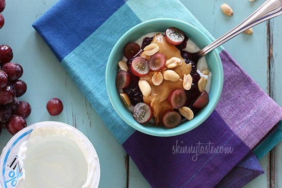 PB + J Yogurt | Skinnytaste: Yogurt, Yummy Food, Grape Jam, Healthy Yummy, Red Grape, Cooking Tips, Breakfast Recipes, Peanut Butter, Bowls