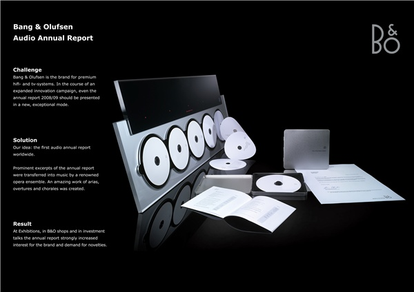 Bronze - Creative Use of Traditional Advertising Formats, Audio annual report, Bang & Olufsen Deuschland GmbH, Serviceplan