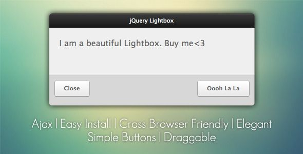 jQuery Lightbox Grooveshark Style . jQuery Lightbox – Grooveshark Style is a quick, simple, and easy plugin to use for all of your lightbox needs. It is highly customizable, and very intuitive to
