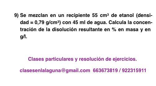 Ejercicio 9 propuesto de Concentración de disoluciones: gramo / litro