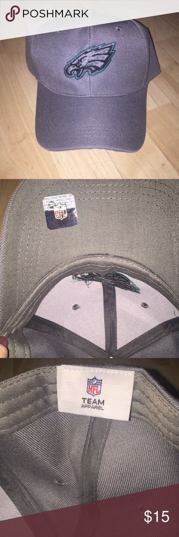 Philadelphia Eagles Ball Cap NWOT NFL TEAM APPAREL Philadelphia Eagles Hat. Grey with Green and Black stitching on the Eagle. Velcro back. New. Never worn. NFL Team Apparel Accessories Hats