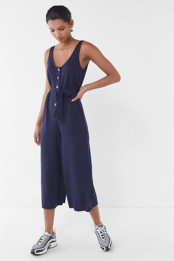 Urban Outfitters Corinne Cupro Belted Button-Front Jumpsuit