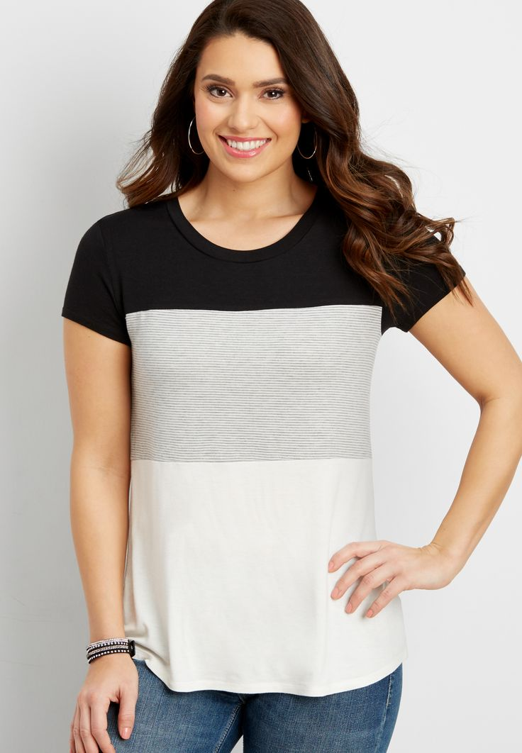 the 24/7 colorblock tee (original price, $24.00) available at #Maurices