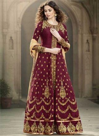 Maroon Beige Embroidery Booti Work Banglori Silk Wedding   Anarkali Gown Suit http://www.angelnx.com/Salwar-Kameez/Anarkali-Suits