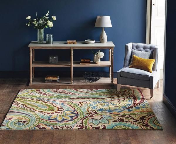 Spice up your home with the floral patterns and soothing tones of the Sanderson Kashmir Spice 46905 Designer Rug
