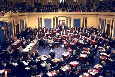 The impeachment trial of President Bill Clinton in 1999, Chief Justice William Rehnquist presiding.