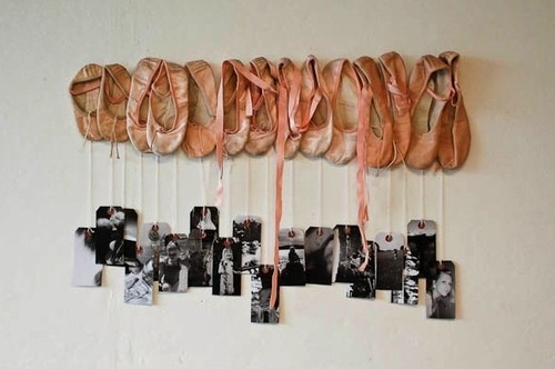 ballet slipper wall hanger....could hold picture frames or could have pegs for purses or ballet outfits