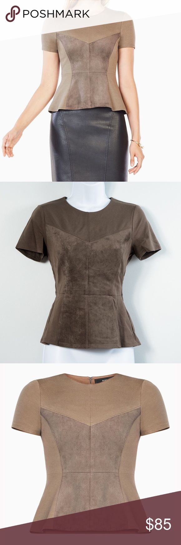 BCBGMAXAZRIA Denna Faux Suede Top Brand new - have tags but not attached Denna faux suede top.  In a textural blend of ponte and faux suede, this figure-skimming top is designed with short sleeves and a subtle peplum hem that works from office to after-hours. Back zipper closure, Fabric 1: 62% rayon, 32% nylon, 6% spandex ponte; fabric 2: 94% polyester, 6% spandex faux suede; lining: 92% polyester, 8% spandex jersey. Washable. Mid-weight, stretch fabric. True to fit.  Size x-small.  Retail…