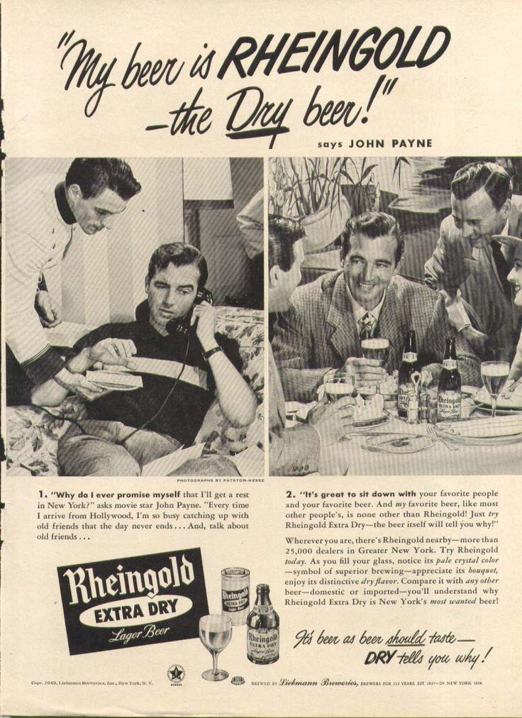0 John Payne for Rheingold Beer ad 1949