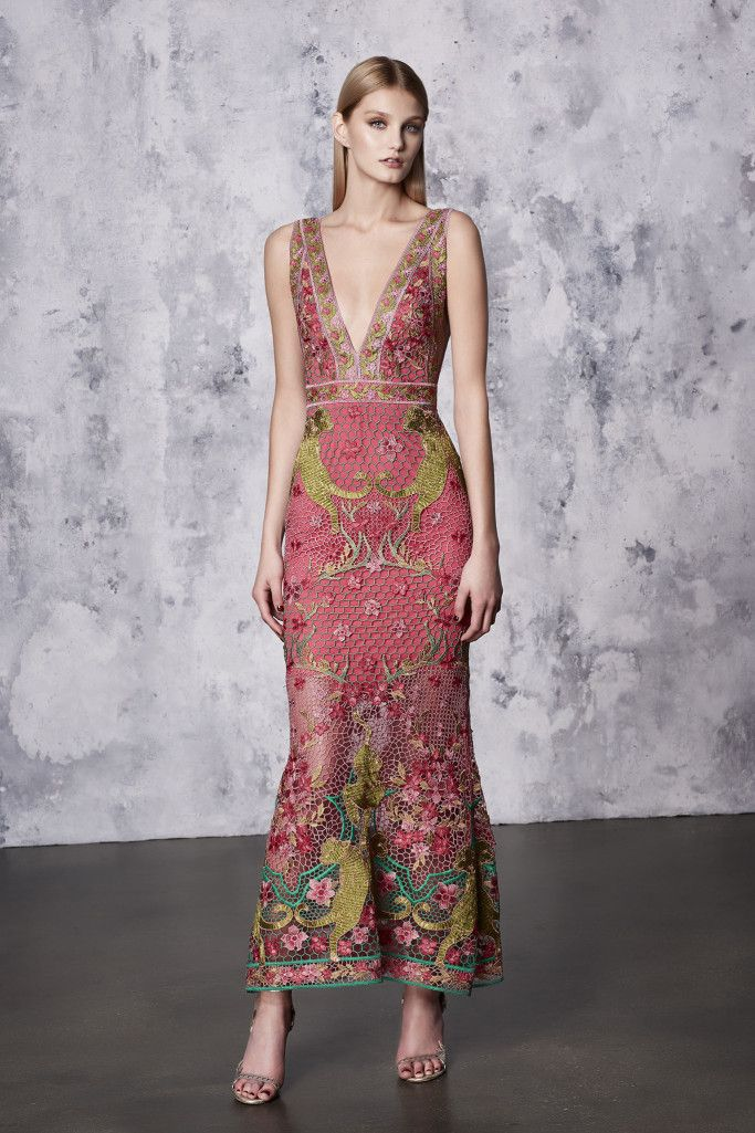 Resort18 #style review: Marchesa Notte's dreamy confections were inspired by interior designer Tony Duquette | Pink and green honeycomb crochet plunge neck dress | The Luxe Lookbook