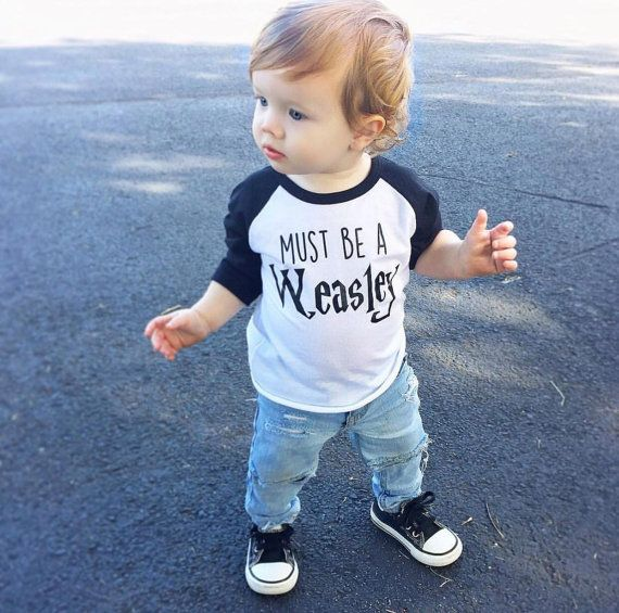 Boys Harry Potter Shirt, Harry Potter baby, Weasley Shirt, Must Be A Weasley, baby geek, toddler, harry potter raglan, red head