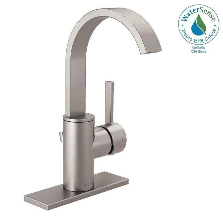 Delta Mandolin 4 in. Centerset Single-Handle Bathroom Faucet in SpotShield Brushed Nickel