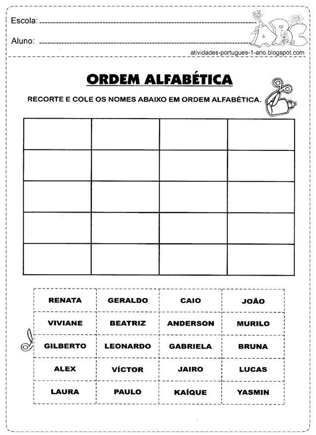Recorte e cole os nomes em ordem alfabética