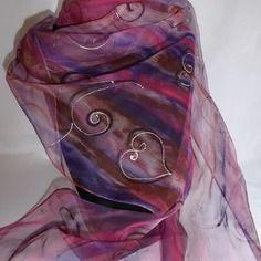 """Etole écharpe foulard en mousseline de soie peint main rouge prune """" nuit de chine """""""