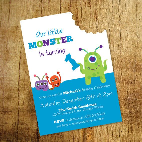 Little Monster Birthday Invitation by DreamingInPaperEtsy on Etsy
